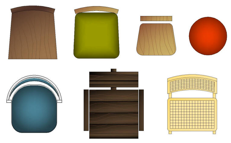 CAD Blocks - Color | Furniture: CHAIRS - DOMESTIC & KITCHEN Architectural Furniture Templates