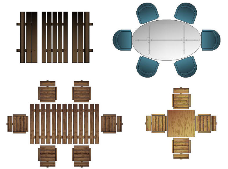 Lounge chair top view drawing - Cad Blocks Color Furniture Tables Exterior Patio