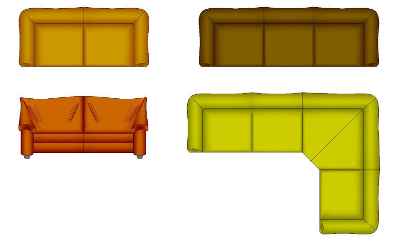 Cad Blocks Color Furniture Leather Sofas Type 2