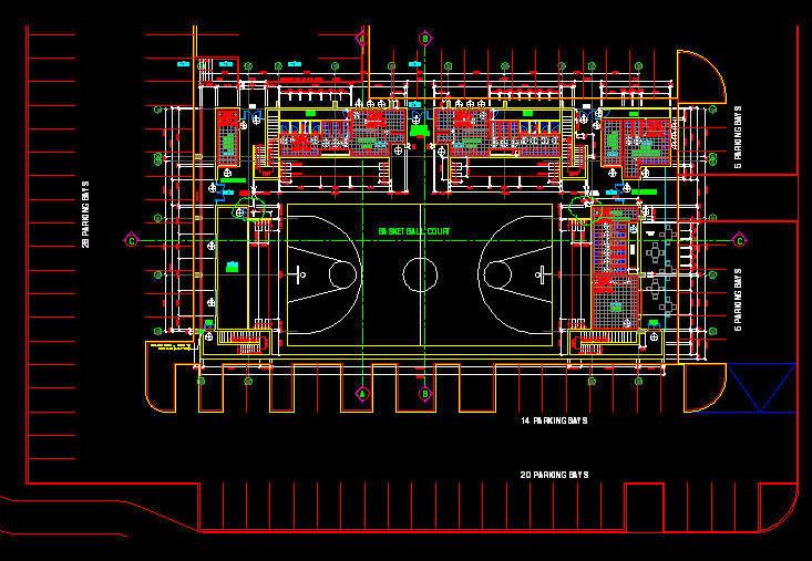 Cad building template stadium basket ball stadium Building structural design software free download