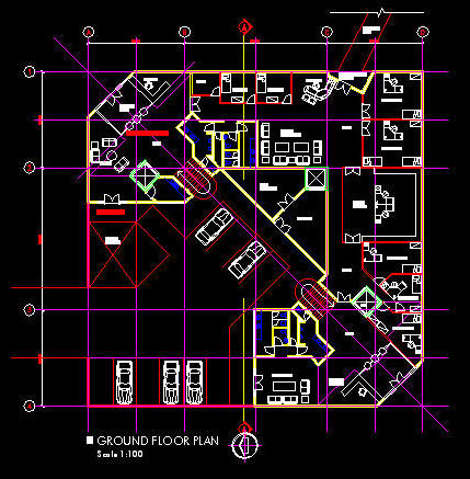 Cad building template 3100sqm office floor layout 5 for Office design dwg