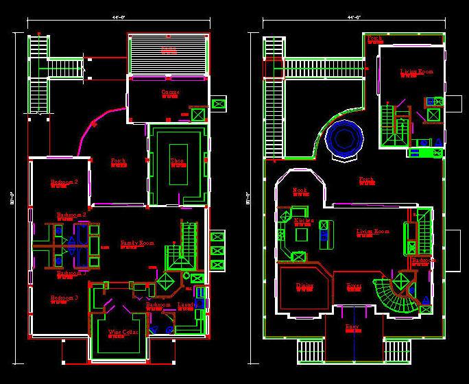 Cad building template us house plans house type 4 for Building plans in autocad format