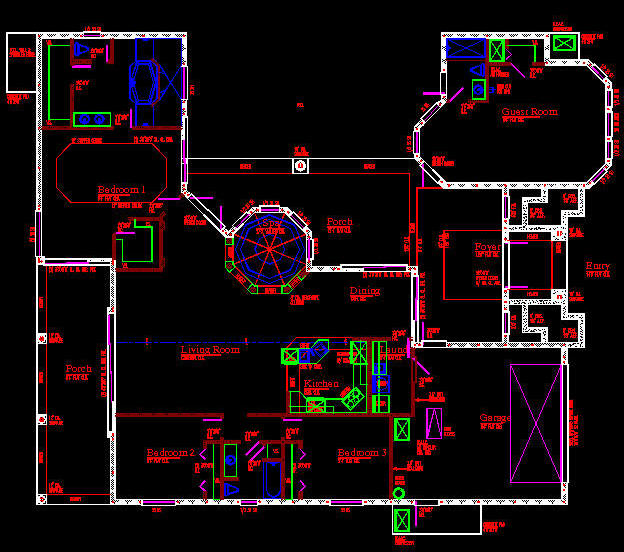 Free 2d cad floor plan for Autocad house drawings