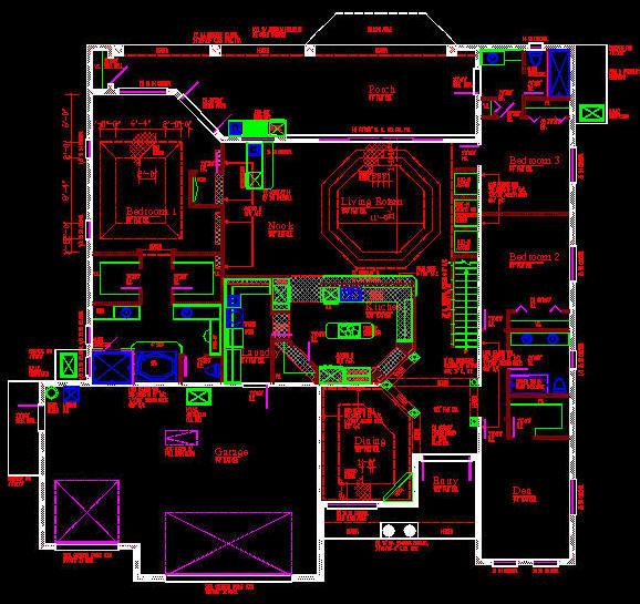 CAD BUILDING TEMPLATE : US HOUSE PLANS - HOUSE TYPE 14 (4556sqft)