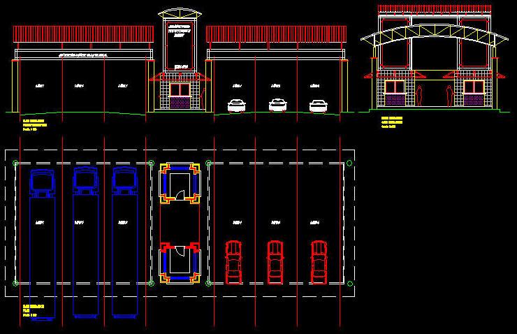 Cad Building Template Entrance Gate House 2 Large Market