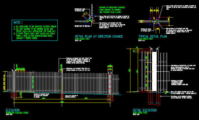 Cad Details Steel Palisade Fence Heavy Duty