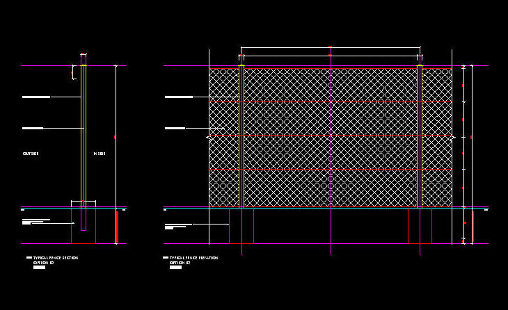 Cad details fencing m high diamond mesh perimeter