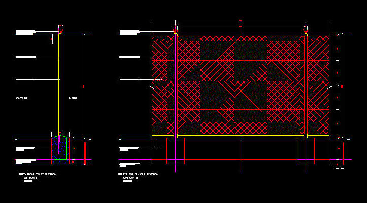 Cad Details Fencing 2 4m High Diamond Mesh Perimeter