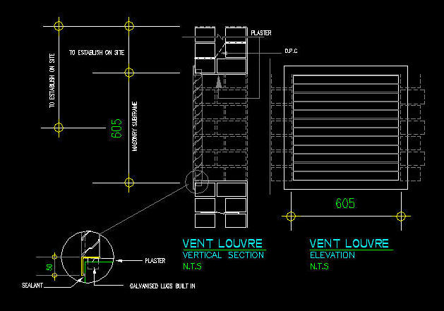Cad Details Steel Louvre Vent In Masonry Wall 1