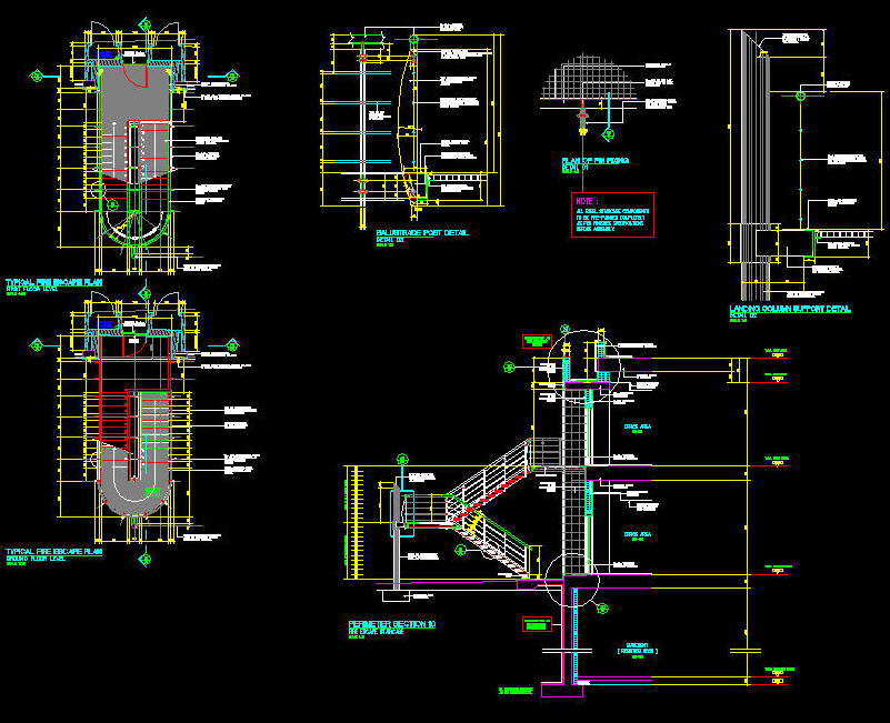 Cad Details Steel Stair High Tech Type With Rounded