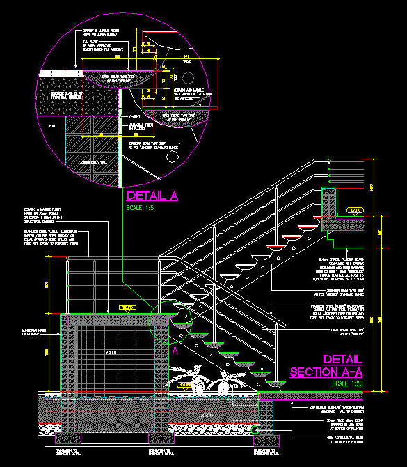 Cad Details Steel Stair High Tech Internal Winstep
