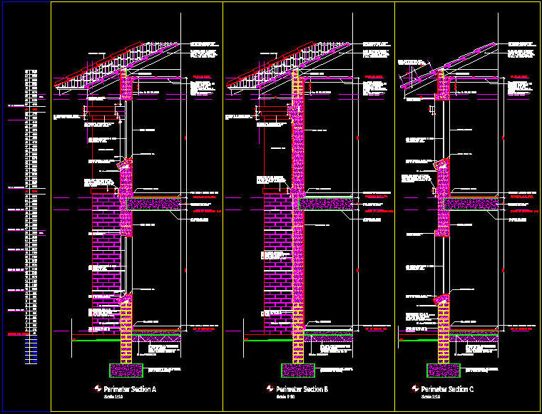 Wall Art Autocad Block : Cad details masonry detail sections two storey with