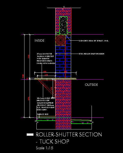 Cad Details Tuck Shop Counter With Roller Shutter Door