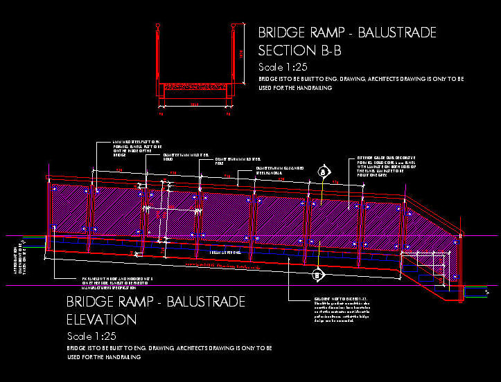 CAD DETAILS : HANDRAIL / BALUSTRADE - STEEL W FORMICA SOLID CORE