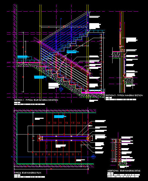 Cad Details Handrail Balustrade Steel Fixed Against