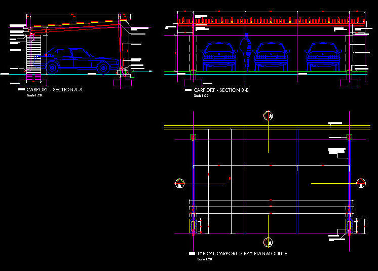 CAD DETAILS : CARPORT: 3 BAY - MONO-PITCH ON DESIGNER STEEL