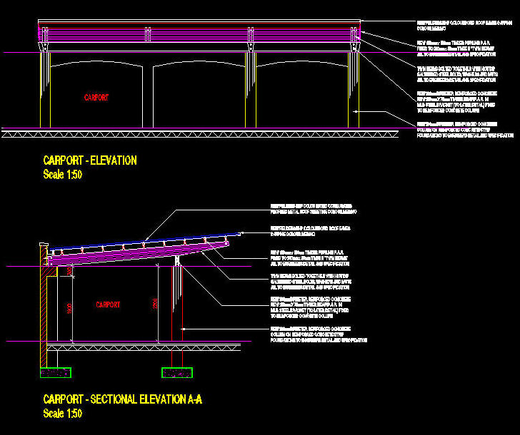 Cad Details Carport 3 Bay Mono Pitch On Wooden