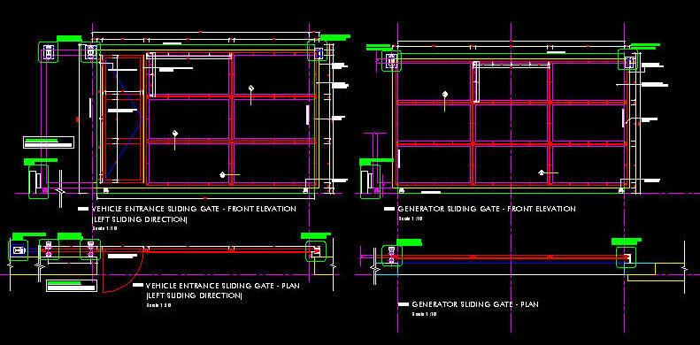 Cad Details Steel Sliding Gate Basement Type With