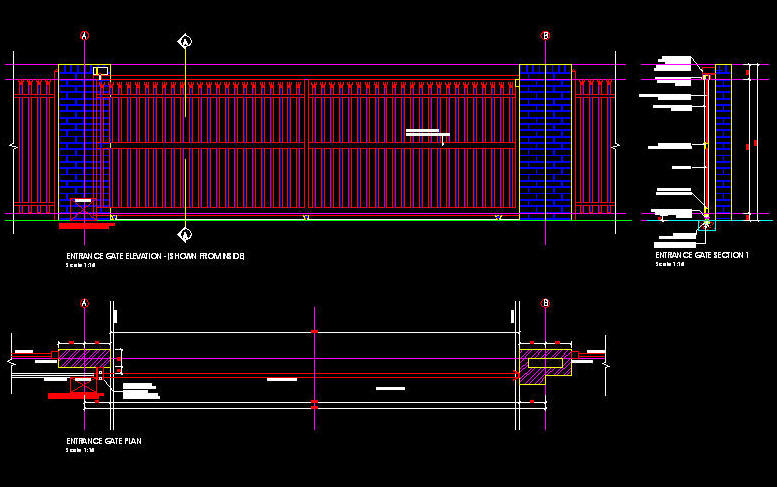 Sliding Gate Design Autocad Drawing Sliding Door Details