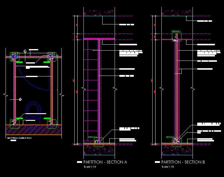 Cad Details Joinery Toilet Cubicle Partitioning Details 1