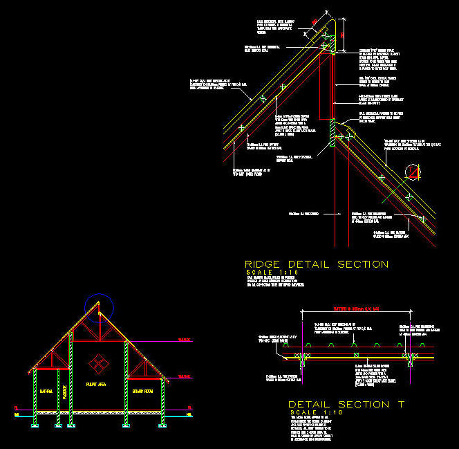 cad details   roofing  sheet metal with staggering roof ridge