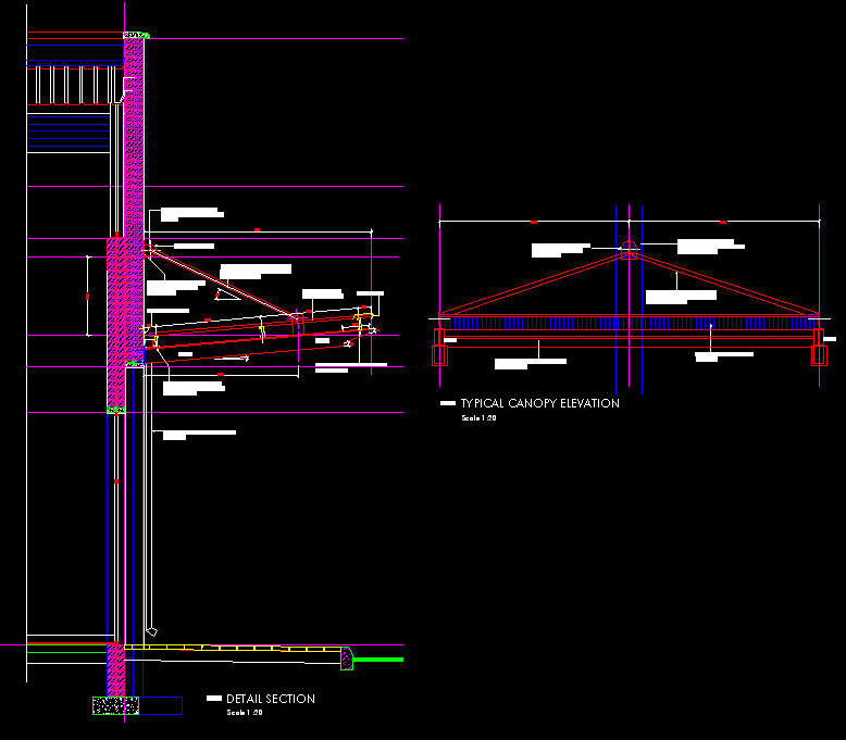 Cad Details Steel Canopy Contemporary 5 Deg Slope