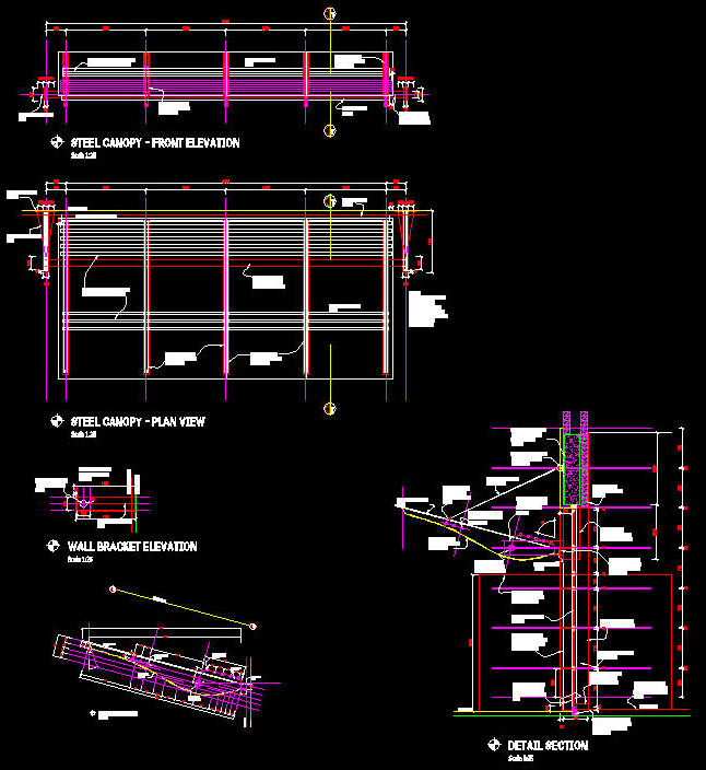 Cad Details Steel Canopy Contemporary Curved With