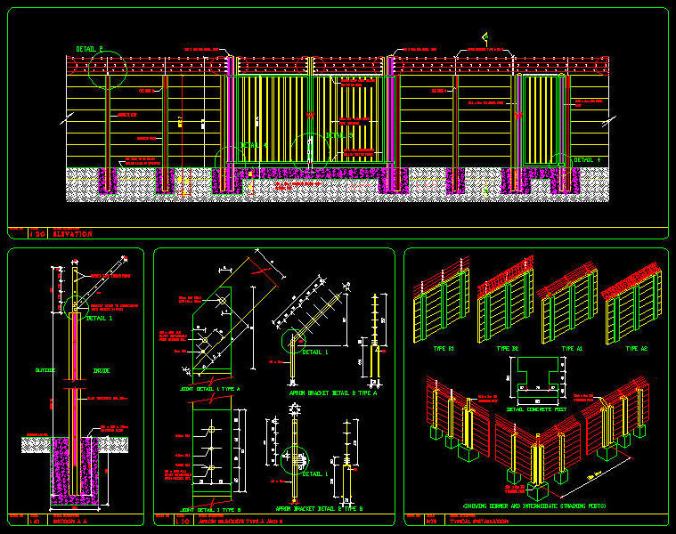CAD DETAILS : FENCING - PRE-CAST CONCRETE WALL WITH BARBED