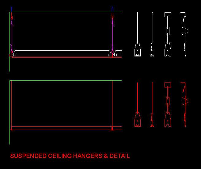 Cad Details Ceilings Suspended Ceiling Hangers Amp Detail