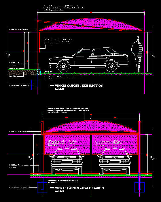 Cad details carport 2 bay full cantilever shade net for Carport detail