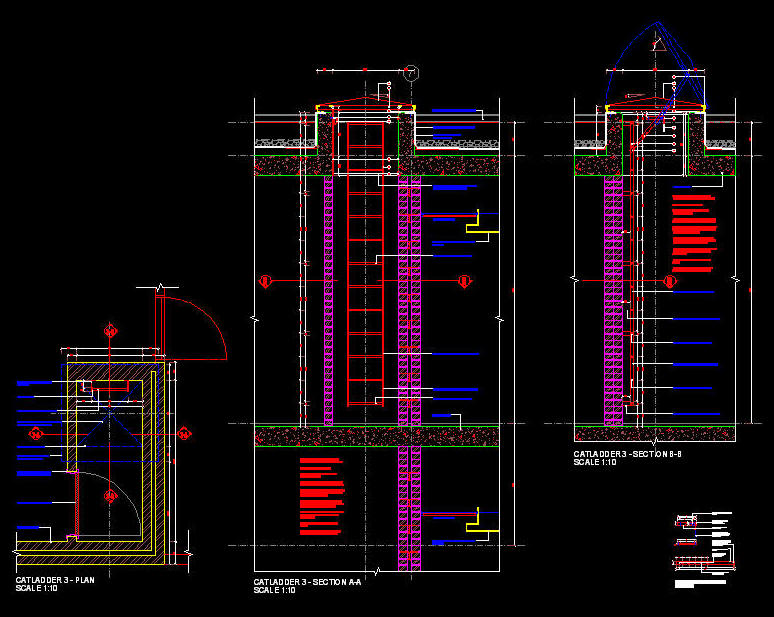 Cad Details Steel Cat Ladder Access Hatch To Concrete