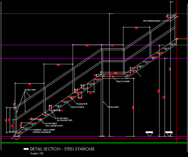 CAD DETAILS: Steel Staircase 1