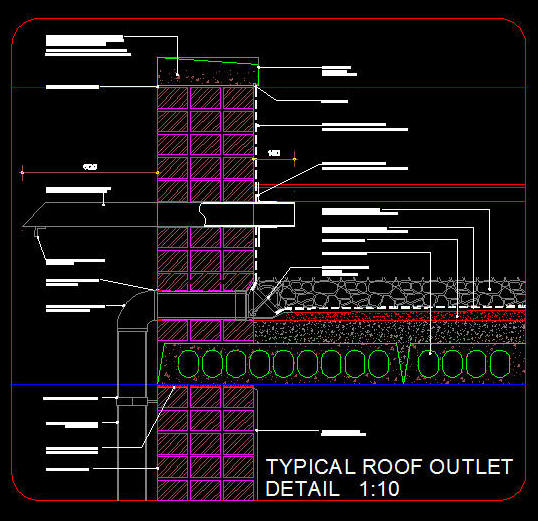 Cad Details Side Outlet Fulbore In Rib Amp Block Concrete Roof