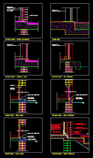 Cad Details Doors Various Door Threshold Details 1