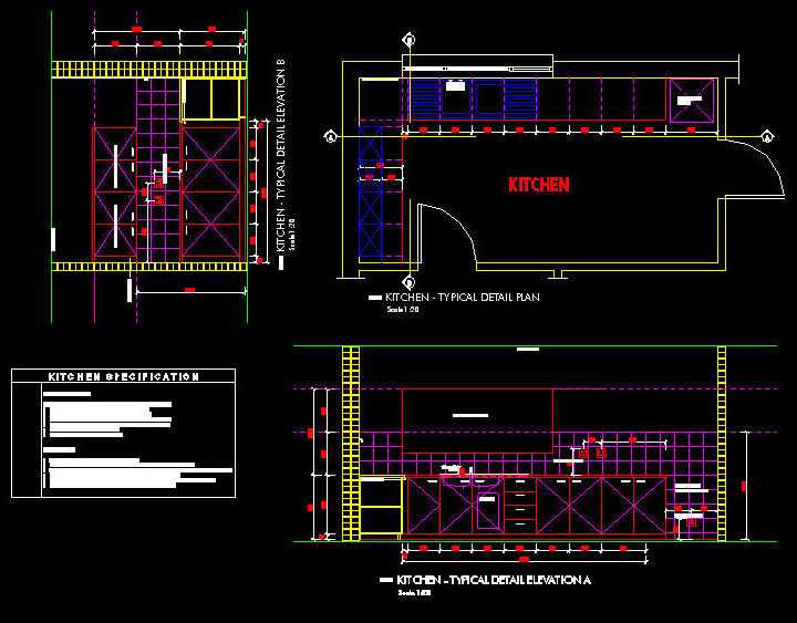Cad Drawing Kitchen Office Layout Fully Documented Set 1