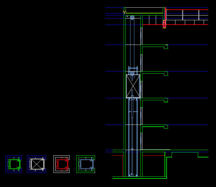 Cad Drawing Lift Elevator Car Plans Section