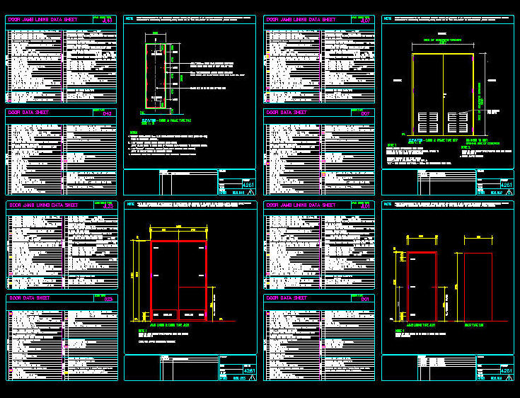 Cad drawing door schedule template 5 door jambs for Autocad templates free dwg