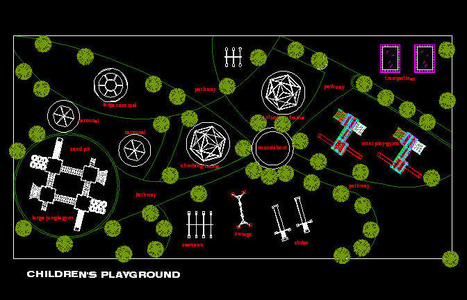 Cad drawing outdoor children 39 s playground layout 1 for Seesaw plans designs