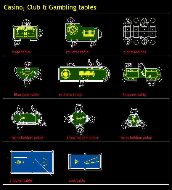 Cad drawing  casino  club gambling table symbol set on file symbol thumbs up color