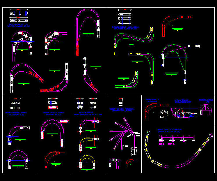 Cad Drawing Various Vehicle Turning Radius Circle Layouts 1