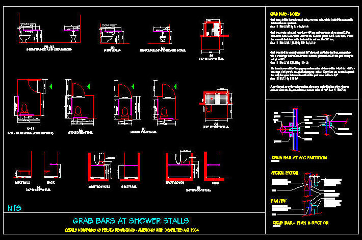 Cad drawing ada grab bars at stalls for Autocad ada bathroom blocks