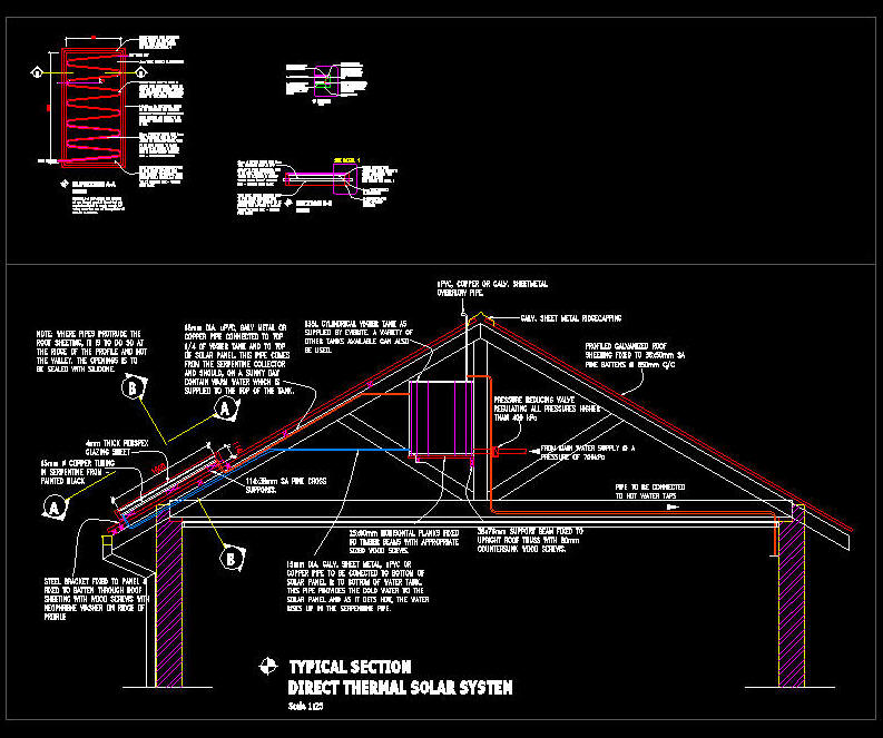 Cad Drawing Solar Thermal Panel Residential Water