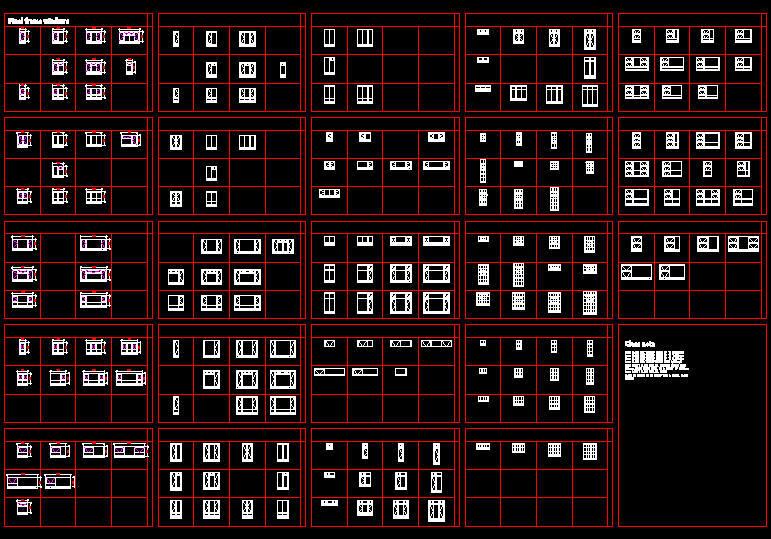 CAD DRAWING : WINDOWS - STEEL WINDOWS, VARIOUS TYPES SCHEDULE