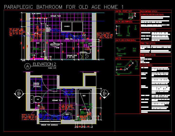 Cad Drawing Disabled Paraplegic Bathroom For Old Age Home 1