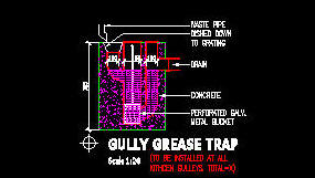 CAD DRAWING : GULLEY GREASE TRAP FOR RESIDENTIAL USE