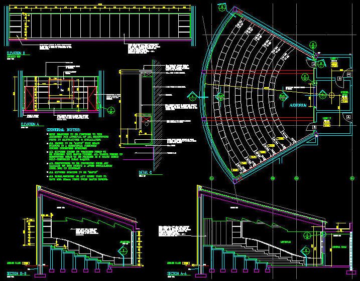 Auditorium plan in autocad images for Layout drawing software free