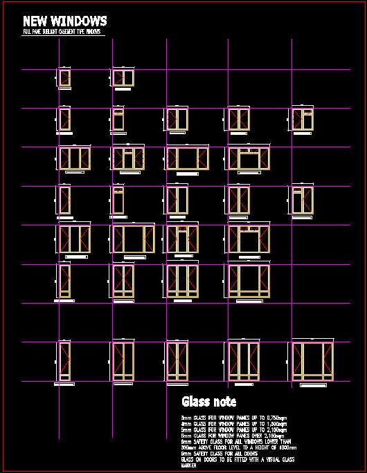 CAD DRAWING : WINDOWS - FULL PANE CASEMENT TYPE 1