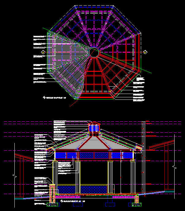 Cad Drawing Detailed Summer Gazebo Pavilion 1