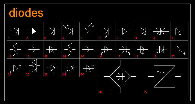 Cad Drawing Electric Electronic Symbols Diodes