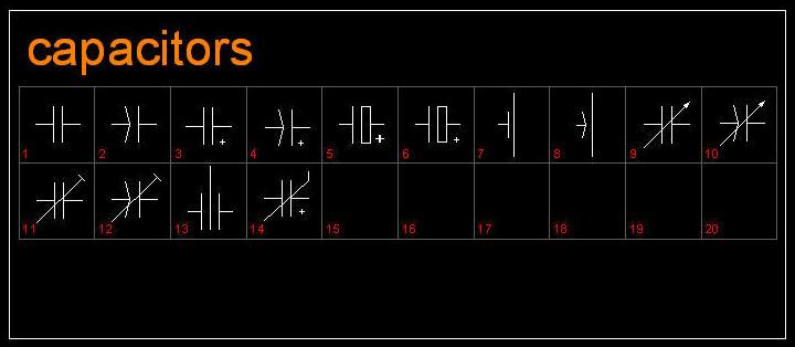 Cad Drawing Electric Electronic Symbols Capacitors